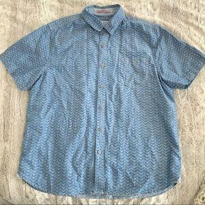 Tommy Bahama Blue Chevron Button Up Shirt